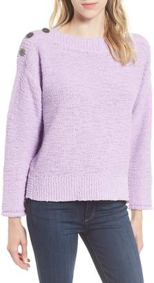 Caslon Button Shoulder Boat Neck Sweater