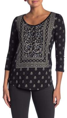 Lucky Brand Scoop Neck 3/4 Sleeve Dual Patterned Henley