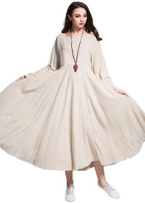 Anysize Expansion Lithesome Linen&cotton Spring Summer Dress Plus Size Clothing Y93S