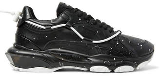 Valentino Bounce Paint-Splattered Leather Sneakers