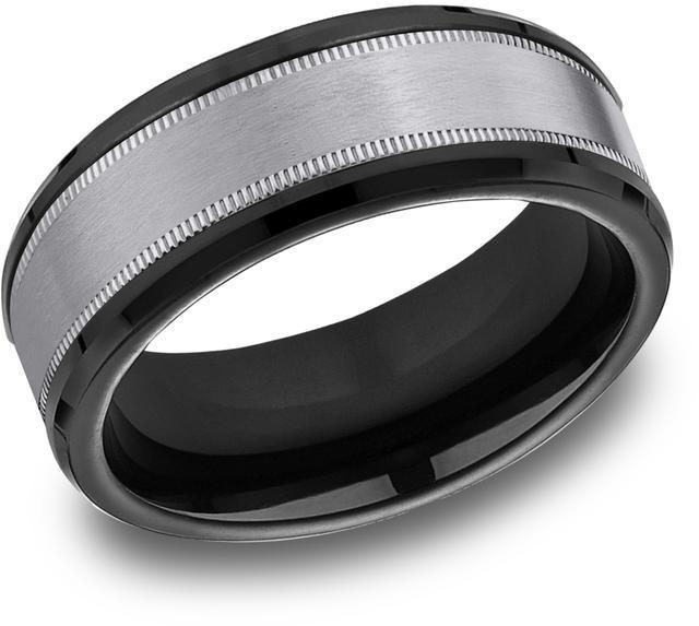 Benchmark Tantalum & Black Titanium 8mm Comfort-fit Milgrain Satin Finish Design Band