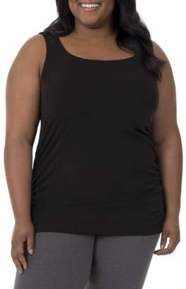 Fruit of the Loom Fit for Me by Women's Plus Size Active Shirred Tank with Shelf-Bra