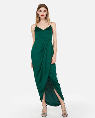 Express Satin Faux Wrap Maxi Dress
