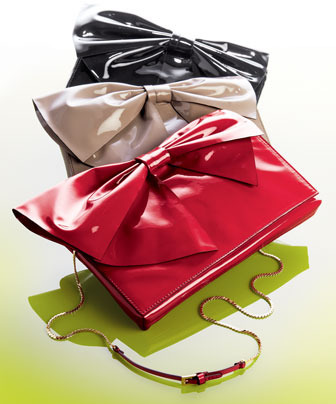 Valentino Lacca Bow Clutch Bag, Red