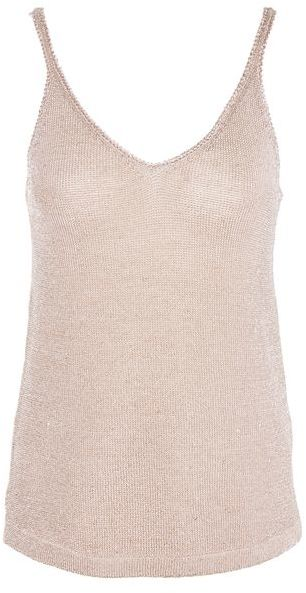 Topshop Topshop Metal yarn knitted camisole top