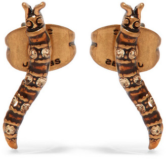 Marc Jacobs - Caterpillar Gold-tone Swarovski Crystal Earrings - one size $55 thestylecure.com