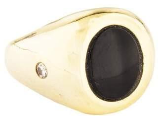 Ring 14K Onyx & Diamond Signet