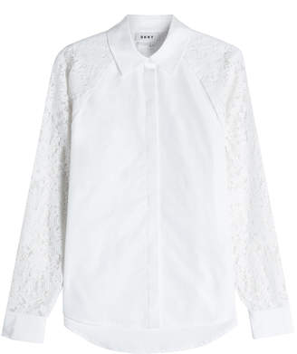 DKNY Cotton Shirt with Lace Sleeves