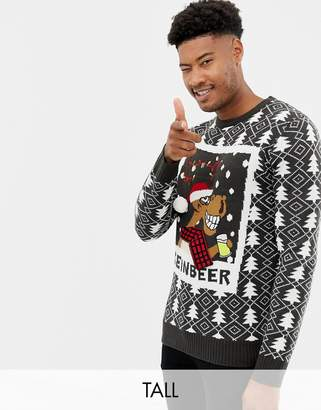 Brave Soul Tall Reinbeer Holidays Sweater