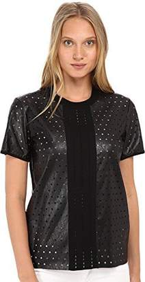 Just Cavalli Women's Short Sleeve Faux Leather Perforated Top LG