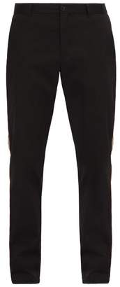 Burberry Shibden Icon Striped Brushed Cotton Chinos - Mens - Black