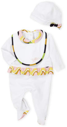 Emilio Pucci Newborn Girls) 3-Piece Peter Pan Collar Footie & Beanie Set