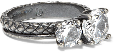 Bottega VenetaBottega Veneta - Oxidized Sterling Silver Cubic Zirconia Ring - 15