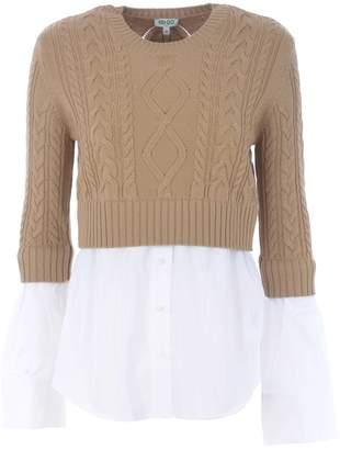 Kenzo Ribbed Knit Hybrid Sweater Shirt