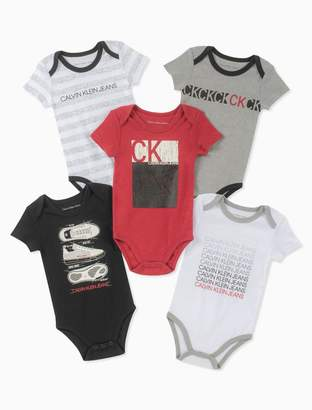 Calvin Klein baby boys 5-pack assorted logo short sleeve onesies