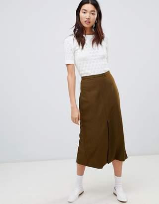 Asos DESIGN Tailored pleated split front midi skirt