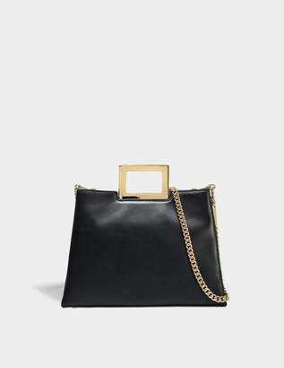MICHAEL Michael Kors Kristen Large Top Handle Satchel Bag in Black Polished Leather