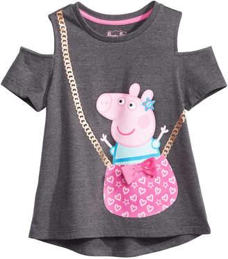 Peppa Pig Little Girls Cold Shoulder Purse T-Shirt