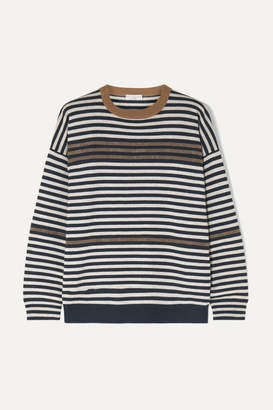 Brunello Cucinelli Embellished Striped Wool Cashmere And Silk Sweater - Brown