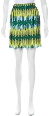 Zac Posen Printed Pleated Skirt