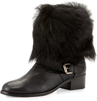 Delman Minka Fur-Cuff Moto Boot, Black $246 thestylecure.com