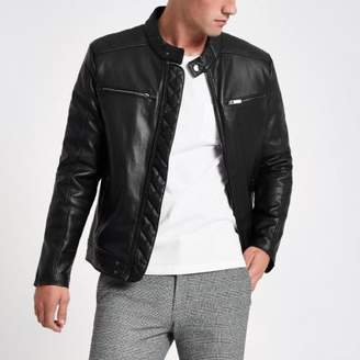 River Island Black faux leather racer neck jacket