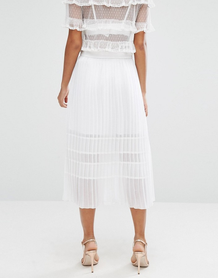 asos pleated skirt in sheer and solid shopstyle co uk