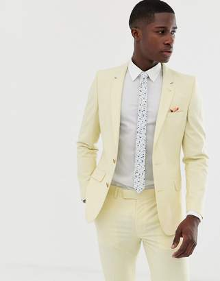 Asos Design DESIGN wedding skinny suit jacket in yellow