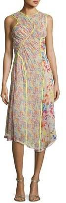 Jason Wu Floral-Print Crinkled Chiffon Sleeveless Midi Dress, Beige $1,750 thestylecure.com