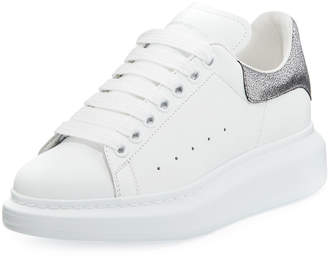 Alexander McQueen Lace-Up Low-Top Wedge Sneakers, White/Gray