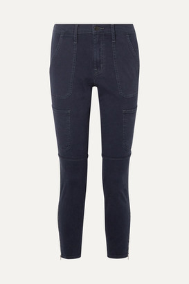 J Brand Cropped Cotton-blend Twill Skinny Pants - Navy