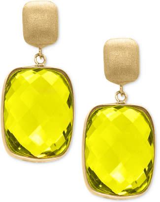 Effy Lemon Quartz Drop Earrings (20-1/2 ct. t.w.) in 14k Gold $1,184 thestylecure.com
