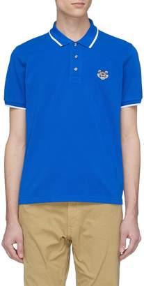 Kenzo Tiger appliqué contrast rib polo shirt