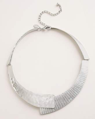 Chico's Chicos Hammered Etched Silver-Tone Collar Necklace