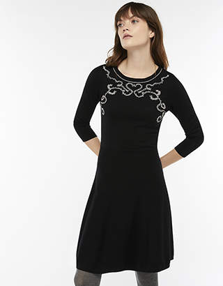 Monsoon Milly Mini Cornelli Fit & Flare Knit Dress