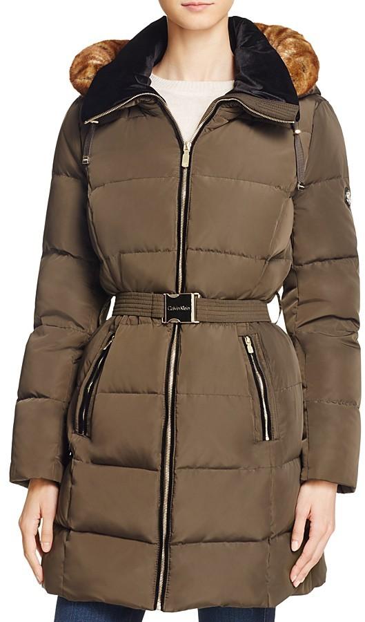 Calvin KleinCalvin Klein Belted Faux Fur Trim Down Coat