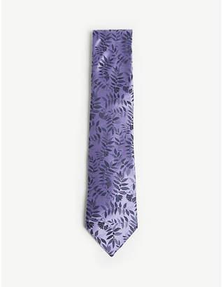 Duchamp Tropical floral print silk tie