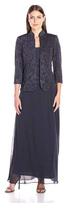 Alex Evenings Jacquard Glitter Knit Long Dress and Mandarin-Neck Jacket