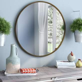 Gracie Oaks Macdougall Round Metal Framed Accent Mirror
