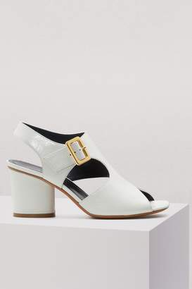Celine Asymmetrical Day Sandal in creased calfskin