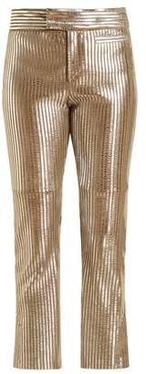 Isabel Marant Novida Cropped Leather Trousers - Womens - Silver