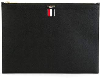 Thom Browne Zippered Document Holder In Black Pebble Grain