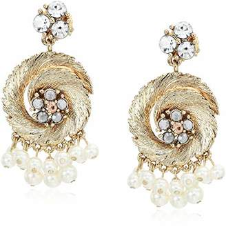 Badgley Mischka Metal and Shaky Pearl Drop Earrings