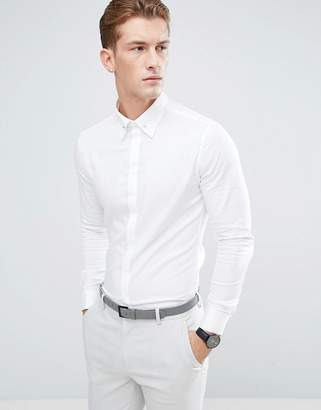 Asos Slim Twill Shirt With Collar Bar In White