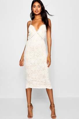 boohoo Izzy Lace Panel Detail Ruffle Hem Midi Dress