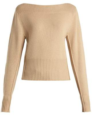Chloé Boat Neck Cashmere Sweater - Womens - Light Brown