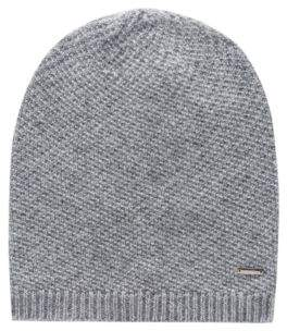 HUGO Knitted beanie in pure cashmere with signature hardware