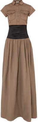 Brunello Cucinelli Belted Cotton And Silk-organza Maxi Dress - Brown