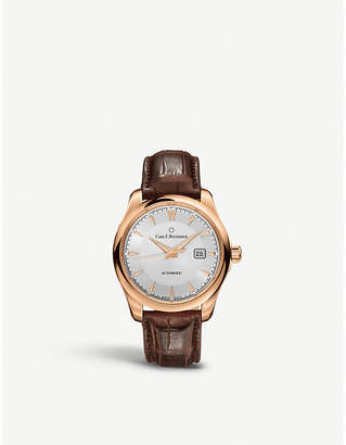CARL F BUCHERER 00.10915.03.13.01 alligator-embossed leather and 18ct rose gold watch