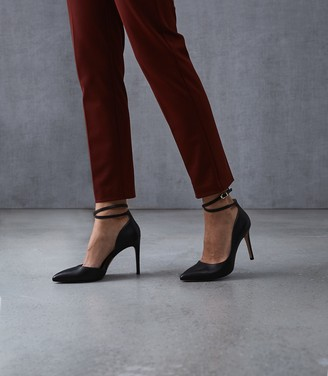 Reiss Lya - Leather Ankle Strap Shoes in Black